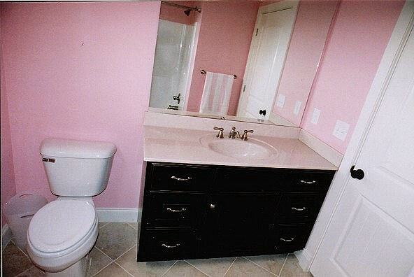 Black cabinet vanity in pink bathroom